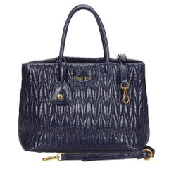 Miu Miu Blue x Navy Gathered Leather 2 Way Handbag