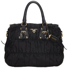 Prada Black Gathered Nylon Satchel