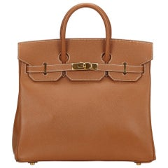 Hermes Gold Courchevel Birkin 35 Bag