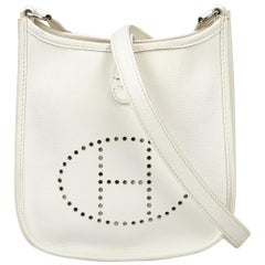 Hermes White x Ivory Leather Evelyne TPM
