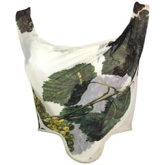Vivienne Westwood Silk Corset with Grape Leaf Print, SS 1997, Size US 4