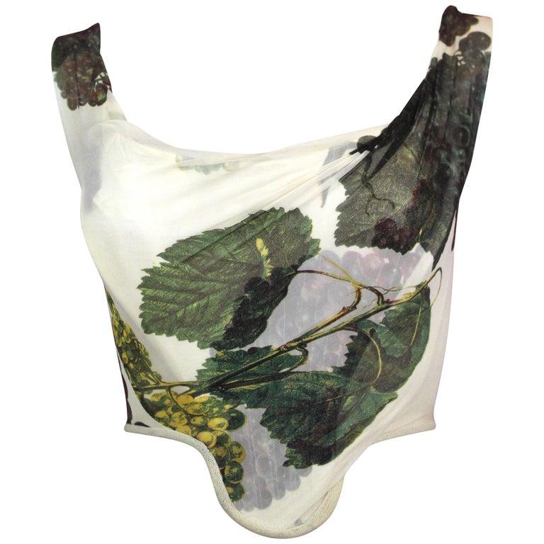 Vivienne Westwood Silk Corset with Grape Leaf Print, SS 1997, Size US 4