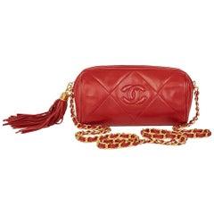 Chanel Red Quilted Lambskin Vintage Timeless Fringe Shoulder Pochette, 1988