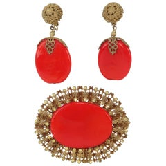 C.1950 Miriam Haskell Red Pate De Verre Earrings & Brooch Set