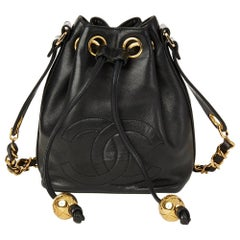 1997 Chanel Black Lambskin Mini Timeless Bucket Bag