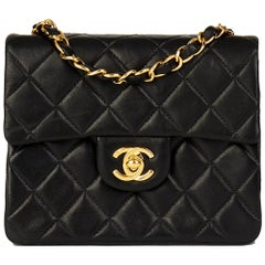 2000 Chanel Black Quilted Lambskin Mini Flap Bag