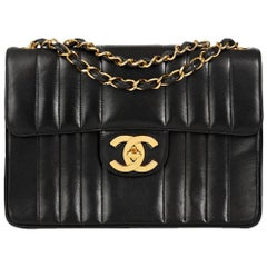 1994 Chanel Black Vertical Quilted Lambskin Vintage Jumbo XL Flap Bag