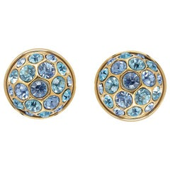 Yves Saint Laurent 1980s Gold Tone Earrings With Blue Crystal Rhinestones