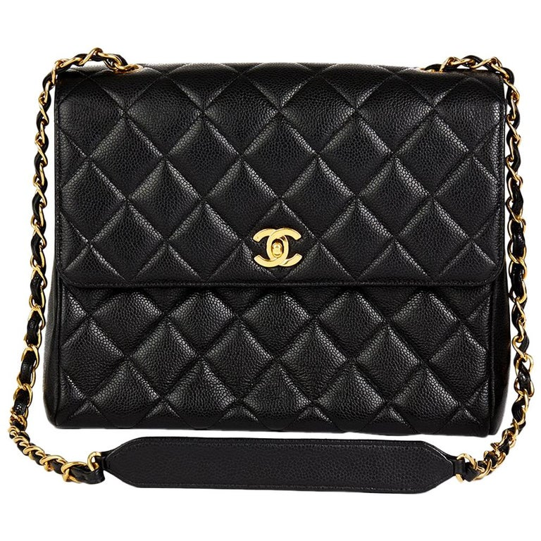 75348803728f23 1995 Chanel Black Quilted Caviar Leather Vintage Classic Single Flap Bag  For Sale