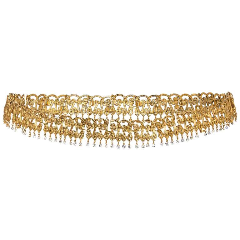 Elaborate Chanel 1990s Gold Tone Belt With Crystal Rhinestone Embellishments