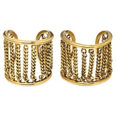 Chanel 1970s Pair of Gold Tone Cuff Bracelets With Chain Link Detail