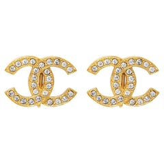Chanel 1980s Gold Tone Double CC Earrings With Rhinestones Larger Size