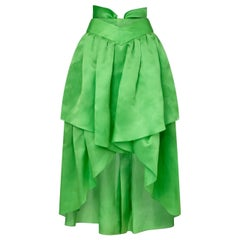Chanel 1980s Emerald Green Silk Organza Skirt With Bow Detail