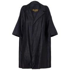 Harvey Nichols Black Silk Evening Swing Duster Coat, 1950s