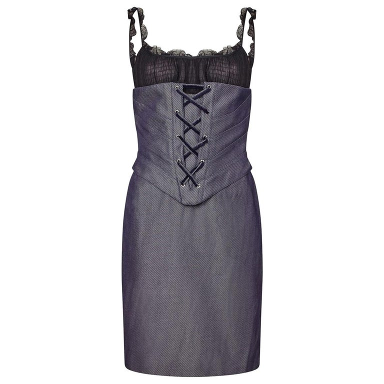 Thierry Mugler Couture Denim Dress With Tailored Black Silk Bodice, 1990s  For Sale