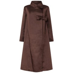 1950s Chocolate Brown Silk Swing Coat With Side Fastening Bow