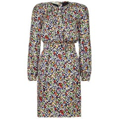 Valentino 1980s Floral Print Silk Shift Dress
