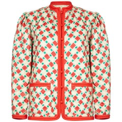 Yves Saint Laurent 1970s Silk Quilted Peasant Jacket With Pocket Detail