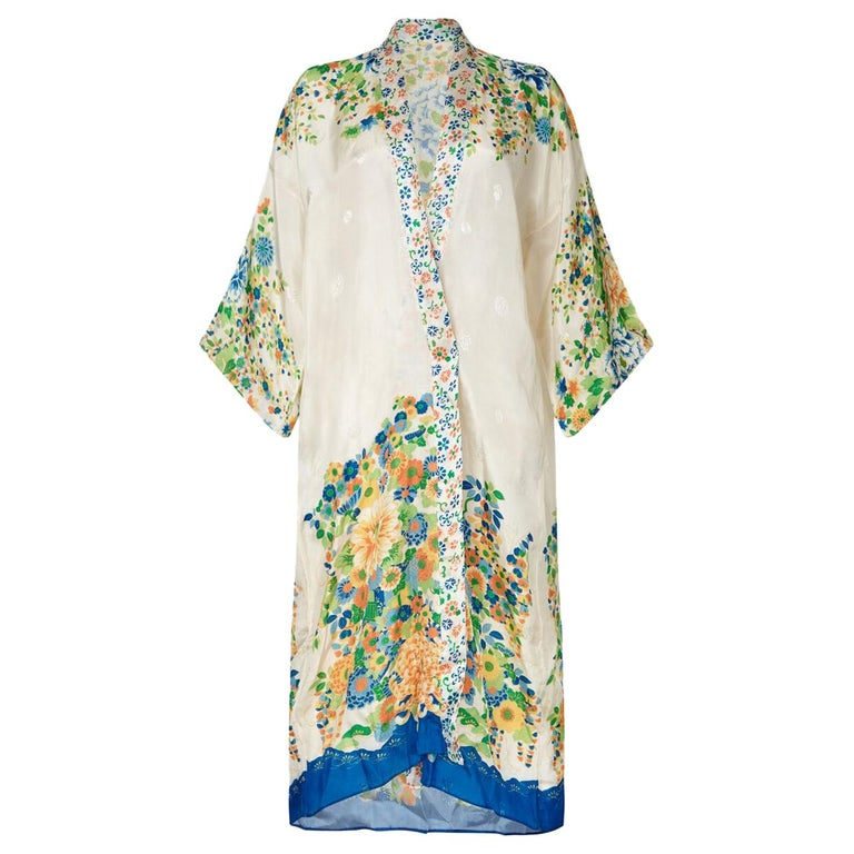Vintage 1920s Silk Pongee Robe With Floral Design