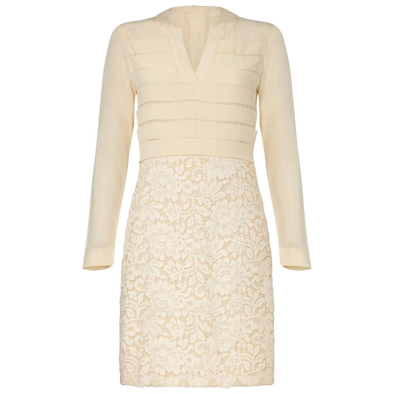 Chanel Haute Couture Bridal Cream Dress Suit With Lace Overlay, 1980s  For Sale