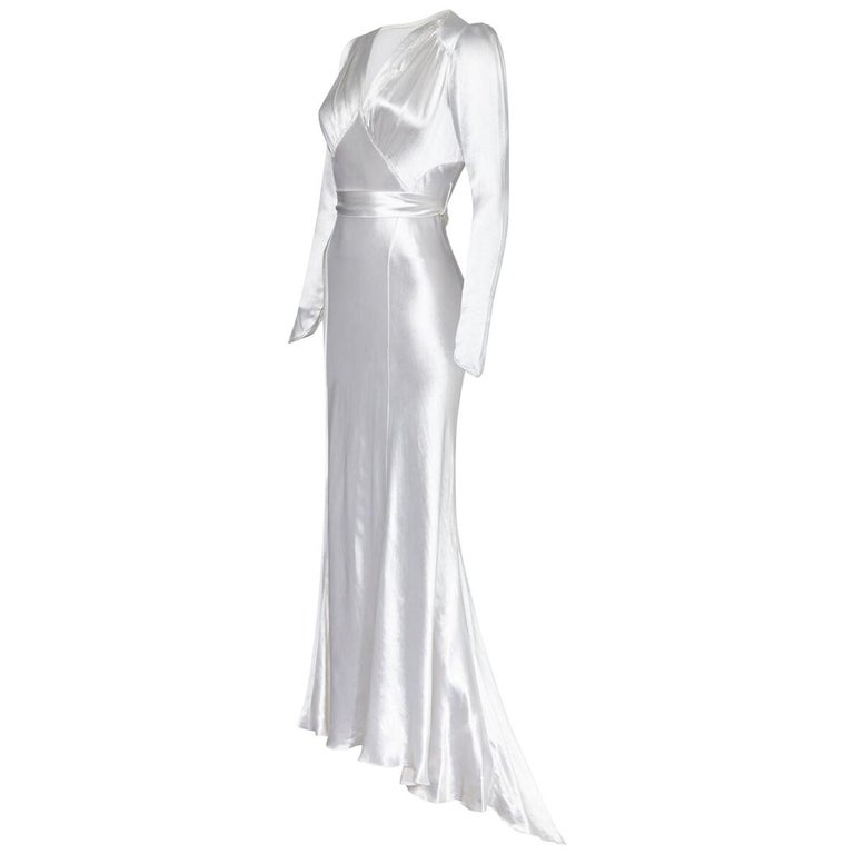 Original White Silk Satin Bias Cut Wedding Dress with Long Sleeves, 1930s