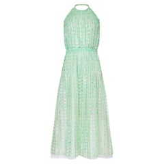 Courrèges 1970s Silk Chiffon Aquamarine Halter Neck Pleated Maxi Dress