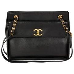 1994 Chanel Black Lambskin Vintage Classic Shoulder Bag