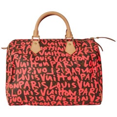 Louis Vuitton Coated Monogram Canvas Stephen Sprouse Pink Graffiti Speedy 30 Bag