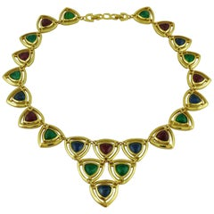Christian Dior Vintage Gold Toned Faux Ruby Emerald and Sapphire Necklace