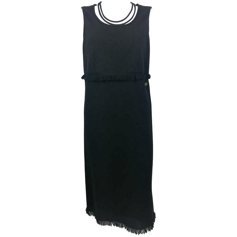 2012 Chanel Black Wool Dress With Fringing Detail