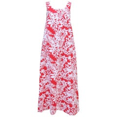 1970's Hilo Hattie's Red & White Hawaiian Floral Muumuu Dress