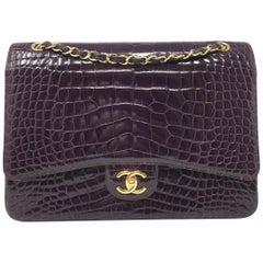 Chanel Paris Shiny Purple Crocodile Maxi Jumbo Timeless Bag , 2012