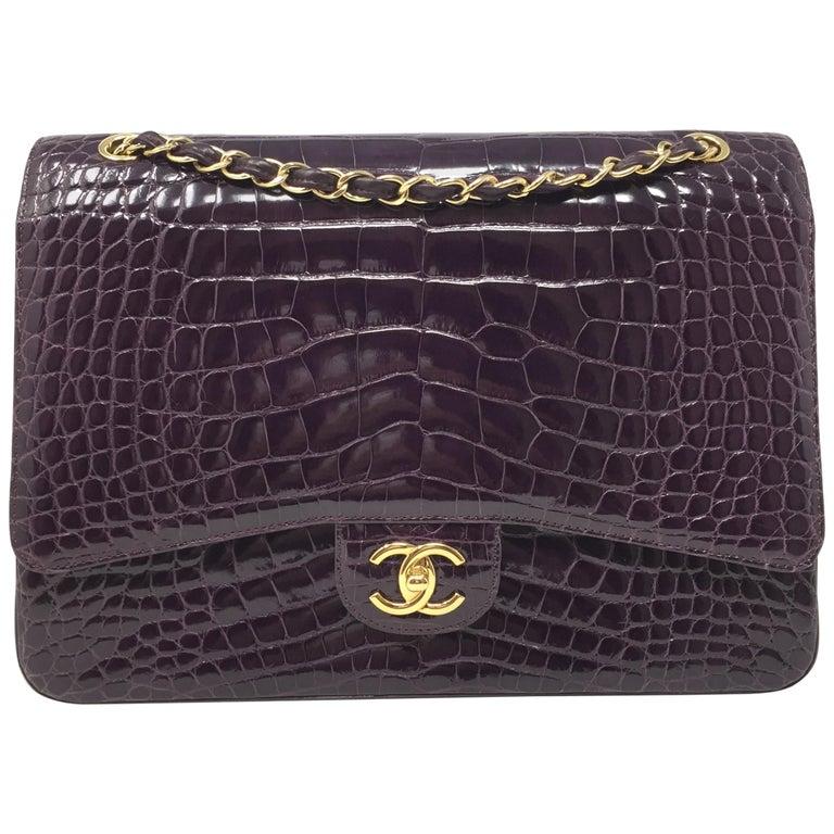 9a9aed98c02e Chanel Paris Shiny Purple Crocodile Maxi Jumbo Timeless Bag , 2012 For Sale