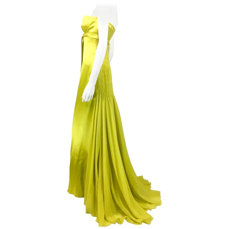 1990's Valentino Chartreuse Silk Evening Gown