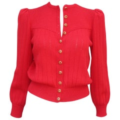 1970's St. John Lipstick Red Knit Cardigan Sweater