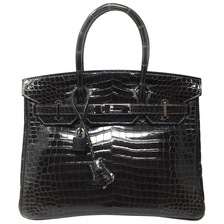 7c61ff33be Hermes Birkin Bag 30 Crocodile Porosus Graphite Gray Shine Leather ...