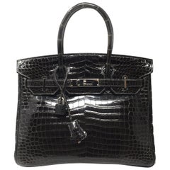 Hermes Birkin Bag 30 Crocodile Porosus Graphite Gray Shine Leather, 2010