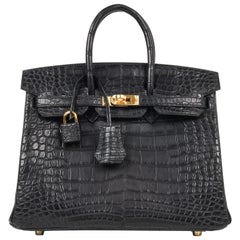 Hermes Birkin 25 Bag Matte Black Alligator Gold Hardware