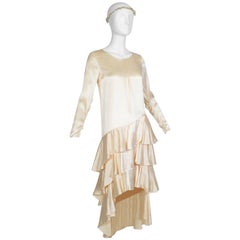 Asymmetrical Dip Hem Wedding Dress with Orange Blossom Garland, 1920s