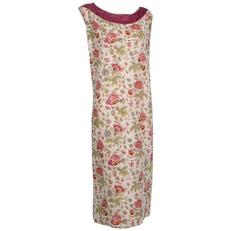 Glass Bead Floral Sack Dress with Gold Brocade Piping, 1920s For Sale