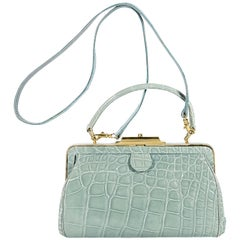 Maxima Light Blue Mini Alligator Evening Bag