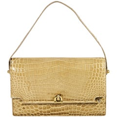 Lucille de Paris Vintage Tan Alligator Belly Bag