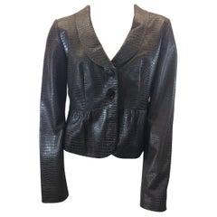 Armani Brown Lamb Skin Leather Jacket