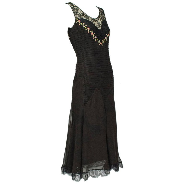 Sleeveless Chiffon Trumpet Dress with Embroidered Illusion Bodice, 1920s For Sale