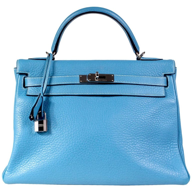Hermes Blue Jean Togo Leather 32cm Kelly Handbag, 2002 For Sale