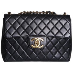 Chanel Quilted Black Leather Jumbo Flap Bag, 1996-1997