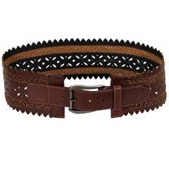 Oscar de la Renta Brown Leather Waist Belt