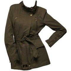 Kenneth Cole New Olive Twill Coat Jacket Trench