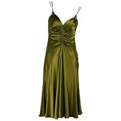 Olive Green Badgley Mischka Embellished Slip Dress