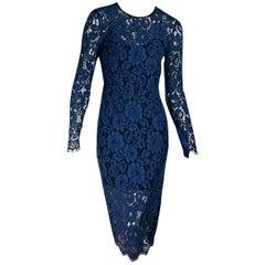 Blue Veronica Beard Long-Sleeve Lace Dress